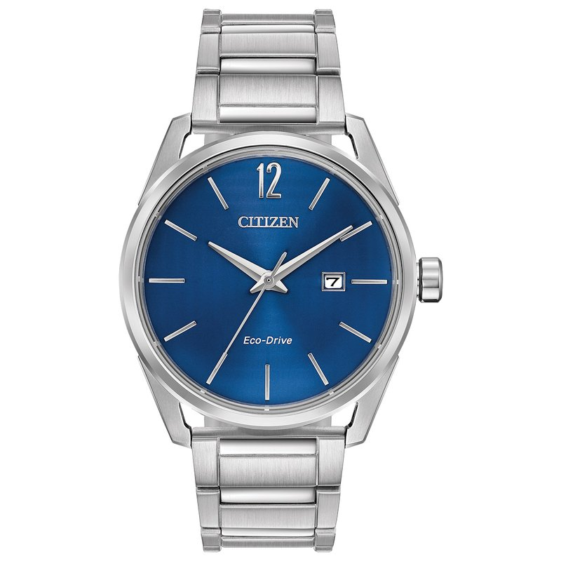 Citizen Watches in Stock Stainless Steel Eco-drive Watch w/ Blue Face