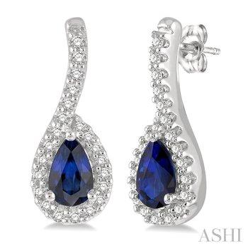 10KW Sapphire Pear Shape Earrings w/ 0.15 ctw, & 5x3 Sapp.