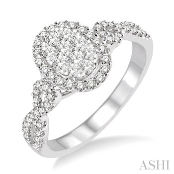 """14KW Oval Shape """"Lovebright"""" Engagement Ring w/ 0.65 ctw, Size 6.75"""