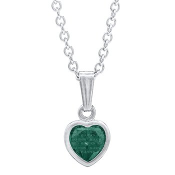 Sterling Silver Heart May Emerald CZ Birthstone Pendant