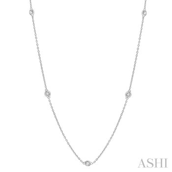 """14KW Diamond Station Necklace 18"""" w/ 0.25 ctw"""