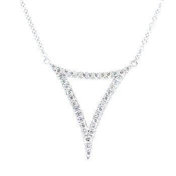 14KW Diamond Fashion Necklace w/ 0.24 ctw Adjustable Chain