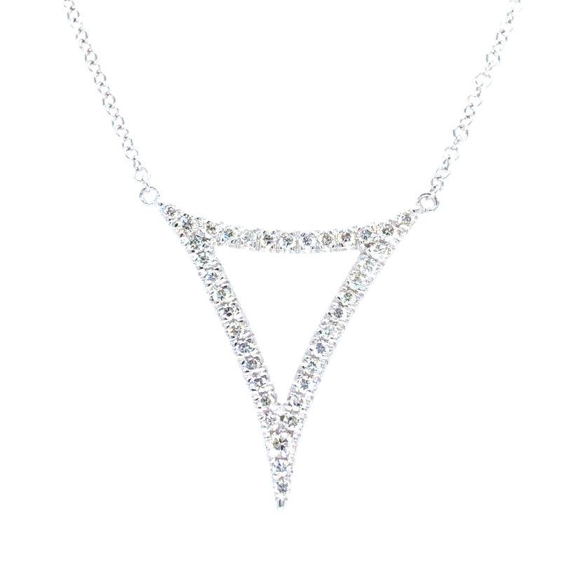 Gabriel & Co. 14KW Diamond Fashion Necklace w/ 0.24 ctw Adjustable Chain