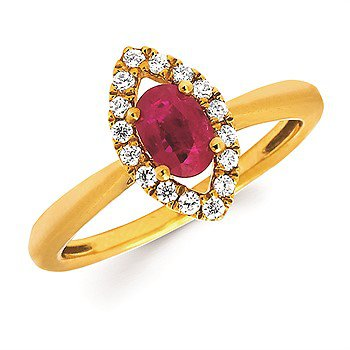14KY Diamond and Ruby Oval and Halo Ring w/ 0.63 ctw Rby. & 0.16 ctw Dia., Size 6.5