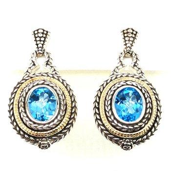 Sterling Silver Swiss Blue Topaz Dangle Earrings w/ 18KY Accents