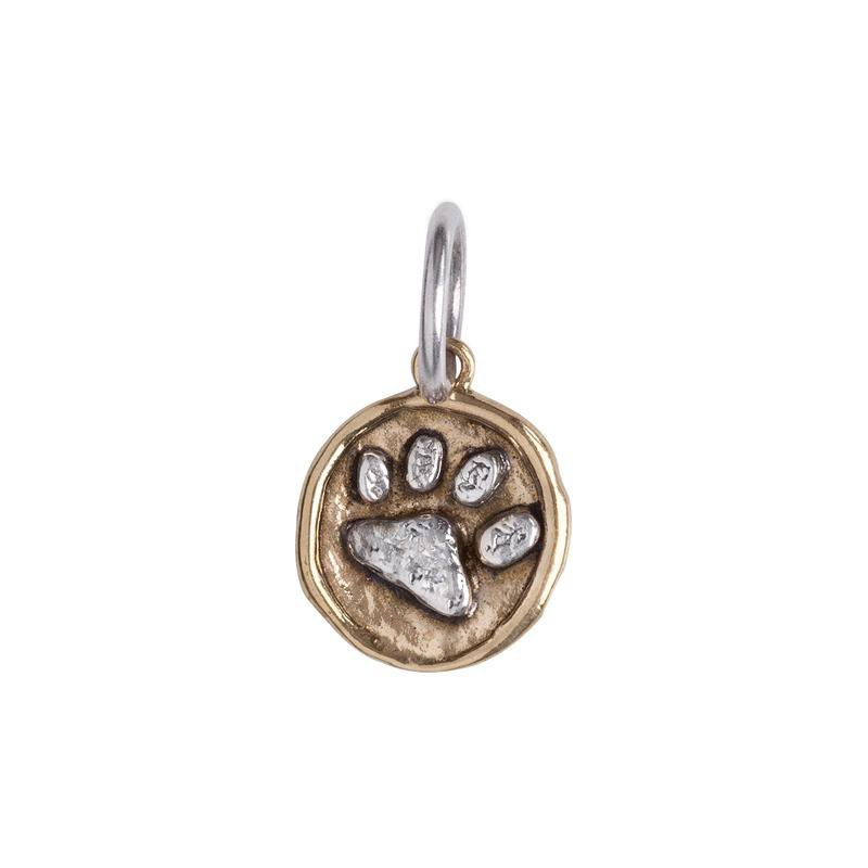 Waxing Poetic Sterling Silver & Brass Paw Print Charm