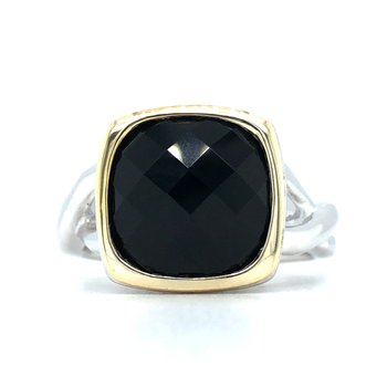 Sterling Silver Black Onyx Ring w/ 18KY Accents