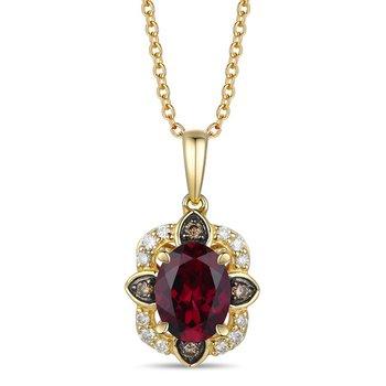 14KY Diamond & Rhodolite Fashion Pendant w/ 0.15 ctw Dia.& 1.35 ctw Rhodolite