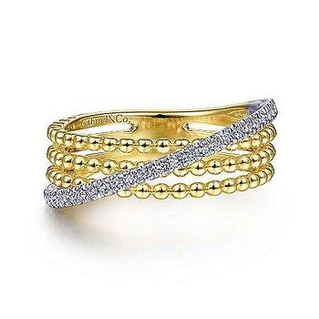 14K Two Toned Three Row Bujukan Ball And Diamond Band Ring w/ 0.18 ctw Size 6.5