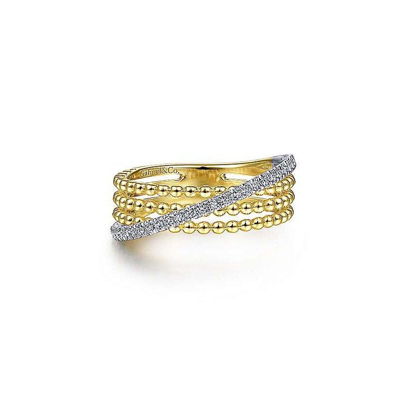 Gabriel & Co. 14K Two Toned Three Row Bujukan Ball And Diamond Band Ring w/ 0.18 ctw Size 6.5
