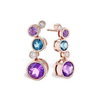 14KR Colored Stones Dangle Earrings
