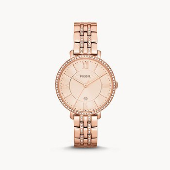 Stainless Steel Rose Tone Fossil Watch w/ Pink Face and Crystals