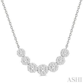 "14KW ""Lovebright"" Diamond 7 Clusters Pendant w/ 0.75 ctw, 18"" Chain"