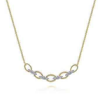 14K Yellow & White Gold Twisted Chain w/ 0.24 ctw