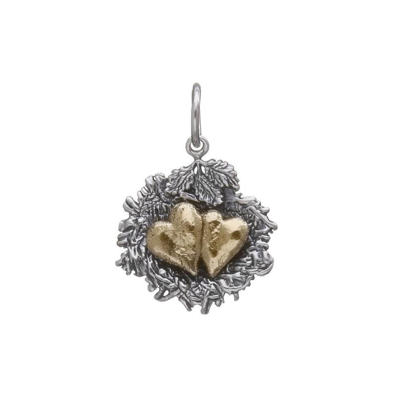 Waxing Poetic Sterling Silver & Brass 2 Hearts Bundled By Love Charm
