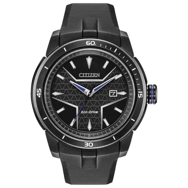 Citizen Watches in Stock Stainless Steel Black Tone Citizen Marvel (Black Panther) Eco-Drive Watch w/ Black Rubber Straps