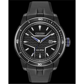 Stainless Steel Black Tone Citizen Marvel (Black Panther) Eco-Drive Watch w/ Black Rubber Straps