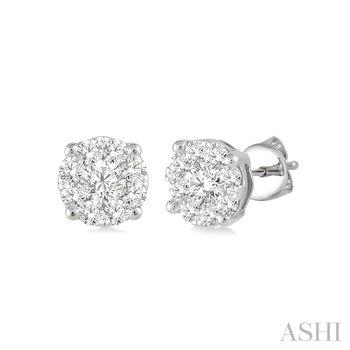 """14KW Diamond """"Lovebright"""" Cluster Earrings w/ 0.15 ctw"""