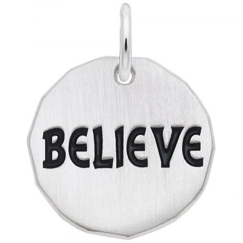 Sterling Silver Believe Charm Tag