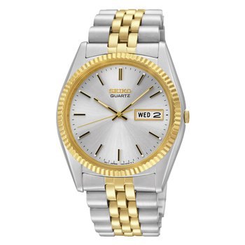 Stainless Steel Two Tone Quartz Watch w/ White Face