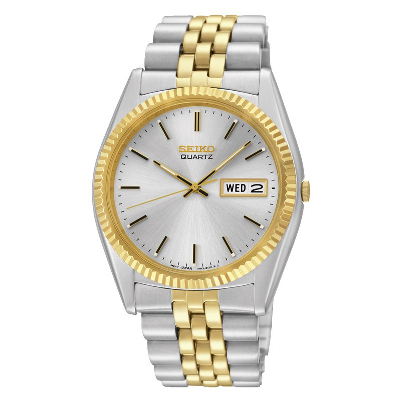 Seiko Watches In Stock Stainless Steel Two Tone Quartz Watch w/ White Face