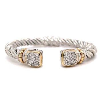 Italian Sterling Silver Diamond Bangle Bracelet w/ 14KY Accents & 0.50 ctw