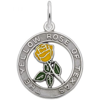 Sterling Silver Yellow Rose of Texas Charm