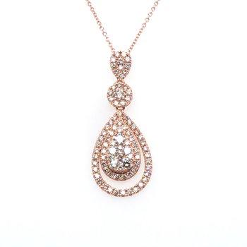 "14KRG Nude Diamond Pendant w/ 1.34 ctw, 18"" Chain"