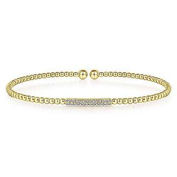 14KY Diamond Bujukan Bead Cuff Bracelet