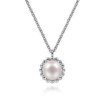 Sterling Silver Round Pearl Pendant Necklace with Beaded Frame