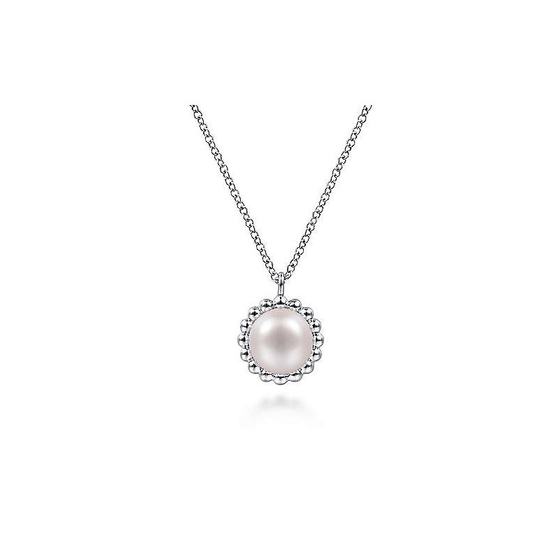 Gabriel & Co. Sterling Silver Round Pearl Pendant Necklace with Beaded Frame