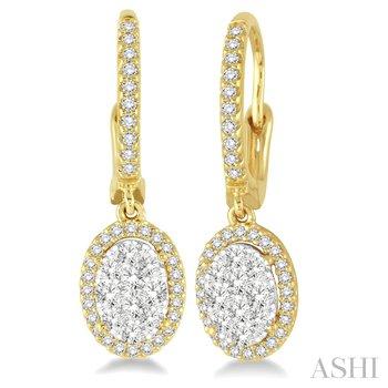 14KY Lovebright Oval Earrings w/ 0.60 ctw