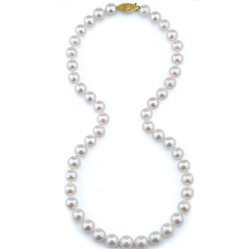 """14KW  """"AA"""" Quality Freshwater Cultured Pearl Strand w/ 7 -- 7.5 mm Pearls, 18"""" Chain"""