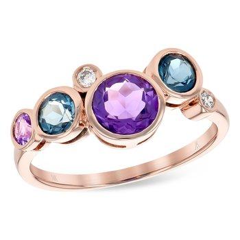 14KR Precious Stones Ring w/ 1.38 ctw, Size 7