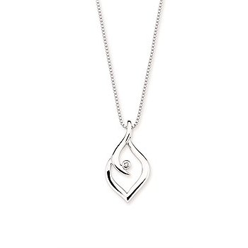 "Sterling Silver Diamond Pendant w/ 0.01 ctw, 18"" Chain"