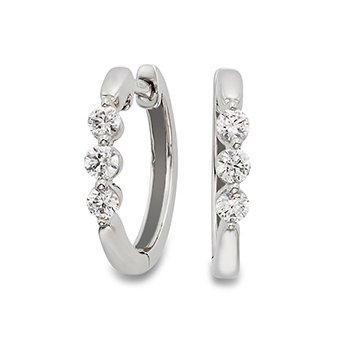 14KW Huggie Earrings w/ 0.25 ctw Round Diamonds