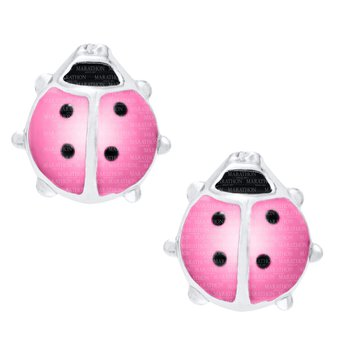 Sterling Silver Pink Lady Bug Earrings