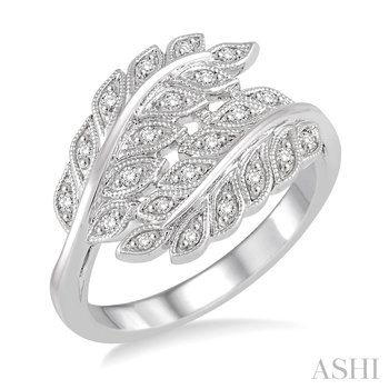 Sterling Silver Diamond Leaf Ring w/ 0.10 ctw, Size 7
