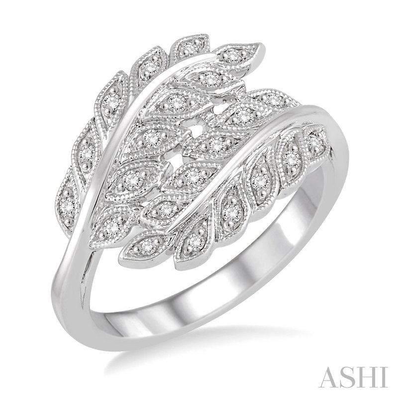 Green Brothers Collection Sterling Silver Diamond Leaf Ring w/ 0.10 ctw, Size 7
