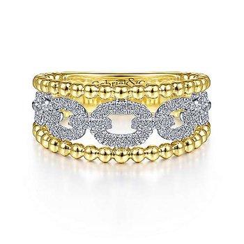 14KYW Diamond Pave Link and Bujukan Bead Ring w/ 0.34 ctw