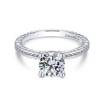 14KW Dimond Semi-Mount Engagement Ring w/ 0.23 CTW Size 6.5