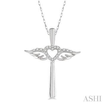 "10KW Diamond Angel Cross Pendant w/ 0.10 ctw, 18"" Chain"