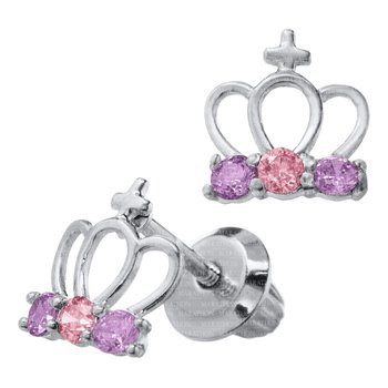 Sterling Silver Purple and Pink CZ Crown Earrings