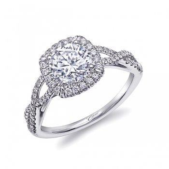 14KW Fishtail Diamond Engagement Semi-Mount Ring w/ 0.31 ctw, Size 6.75