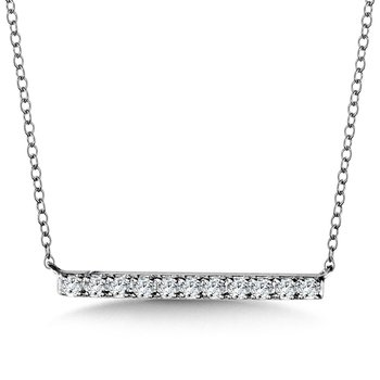 "14KW Diamond Bar Pendant w/ 0.19 ctw, 18"" Chain"