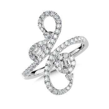 14KW Diamond Round and Baguette Free Form Ring w/ 0.75 ctw