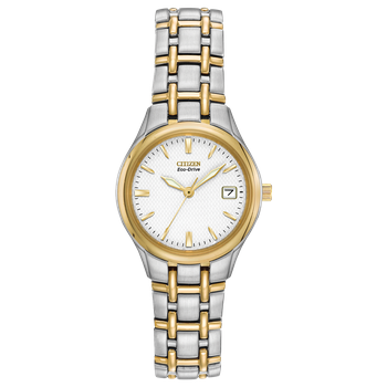 Stainless Steel Two Tone Eco-Drive Silhouette Sport Watch w/ Date Marker