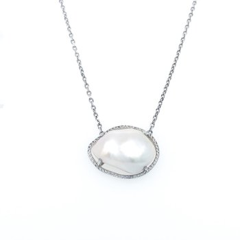 """Sterling Silver Baroque Freshwater Pearl and Topaz Necklace, 20"""" Chain"""