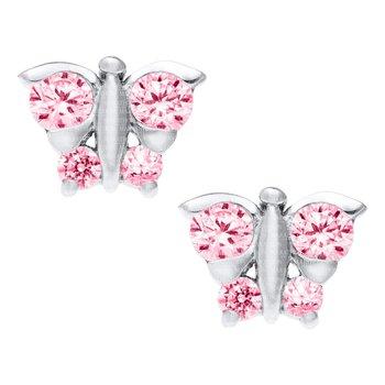 Sterling Silver Pink CZ Butterfly Earrings
