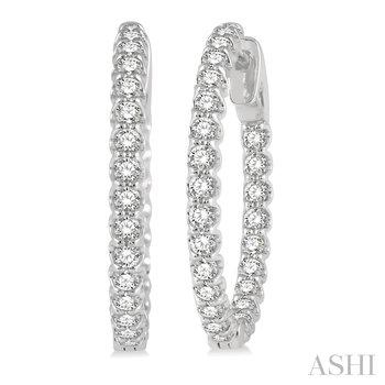14KW Diamond Medium Hoops w/ 1.50 ctw